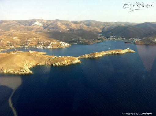 Ag. Nikolaos bay from the air-Catzoni strait